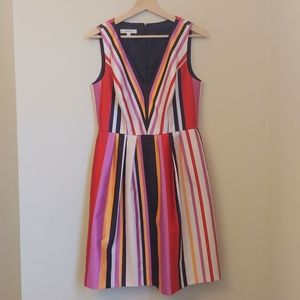 Anthropologie Phoebe Striped Pink V Neck Dress 10